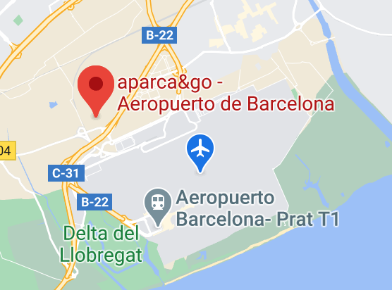 Mapa Parking Aéroport de Barcelone - El Prat